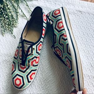 Kate Spade Geometric Print Slip On Keds 9.5